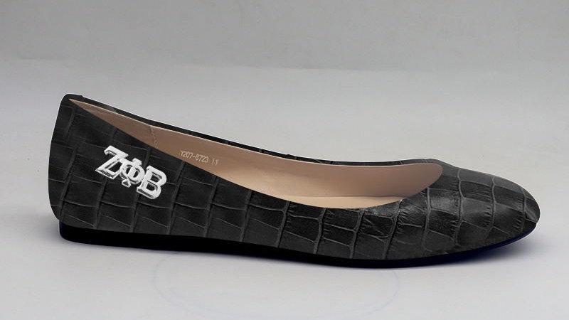ΖΦΒ Black Croco Pattern Genuine Leather Flat with silver buckle