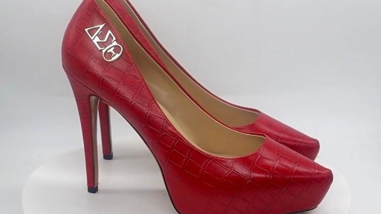Red Croco Pattern Platform Heels w/ silver ΔΣΘ buckle