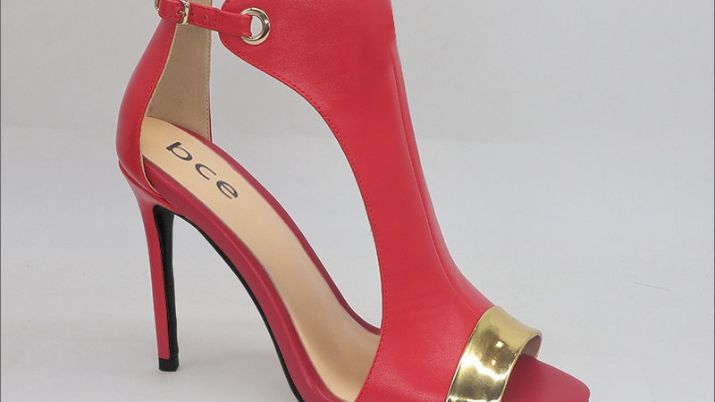 Red Leather and Gold Metallic Genuine Leather 4in heels