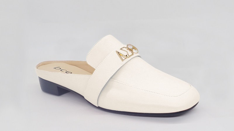 ΔΣΘ Cream Genuine Leather Flats with gold embedded buckle