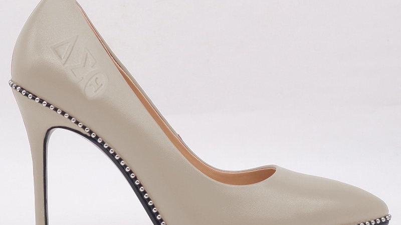 Light Gray ΔΣΘ Genuine Leather Debossed heels