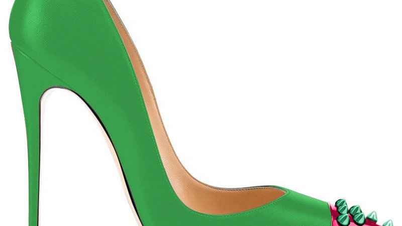 Green/Pink Genuine Leather heel with Green Spikes