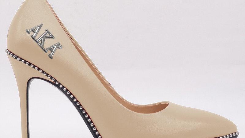 AKA Beige Genuine Leather heels