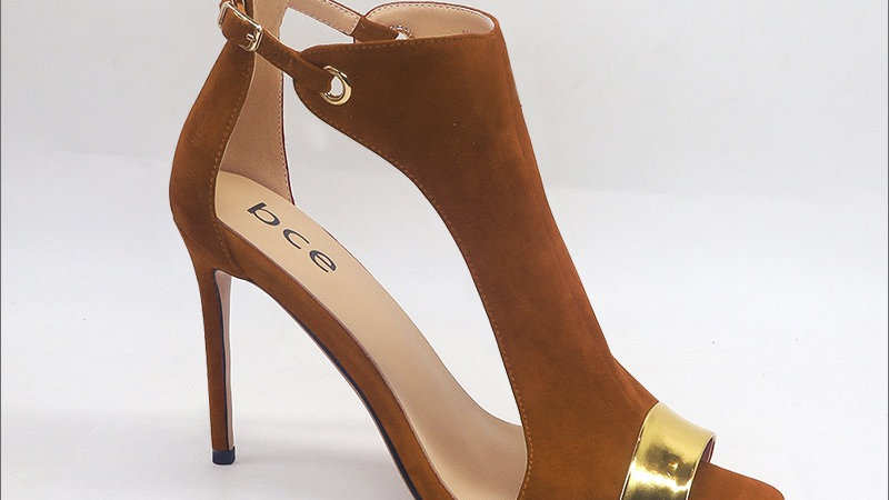 Brown Suede Leather and Gold Metallic Genuine Leather 4in heels