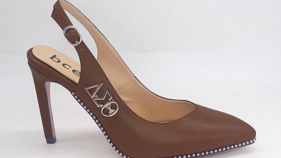 Mocha Slingback Heel with Silver ΔΣΘ buckle