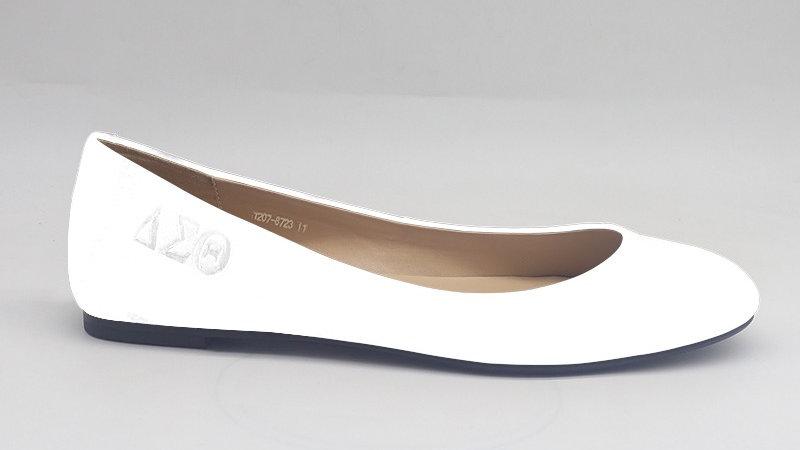 ΔΣΘ white genuine debossed leather flats