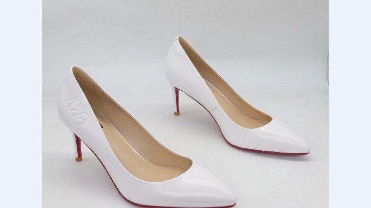 ΔΣΘ White Genuine Leather heels with crimson bottom