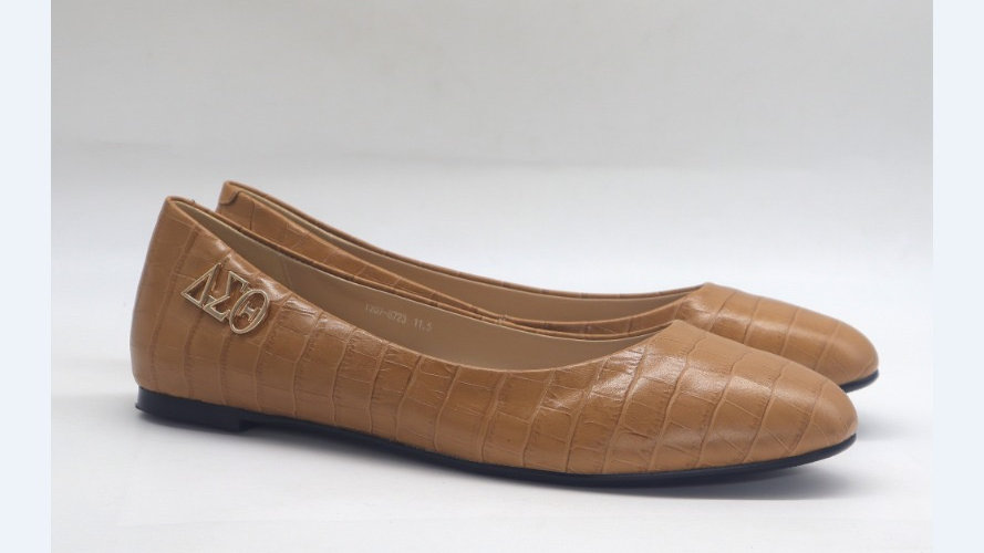 Cappuccino Croco Pattern Genuine Leather Flats with Gold ΔΣΘ buckle