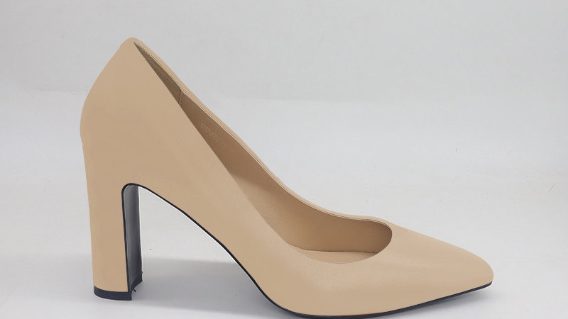 Beige Genuine Leather Block 4in heels