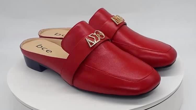ΔΣΘ Red Genuine Leather Flats with gold embedded buckle