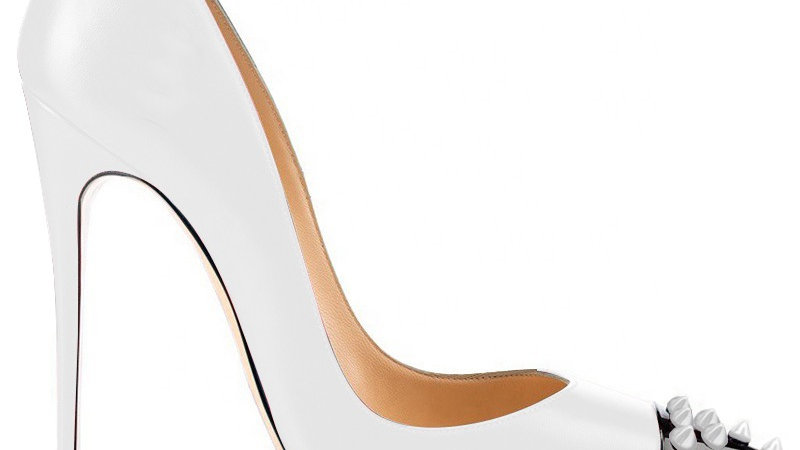 White/Black Genuine Leather heel with White Spikes