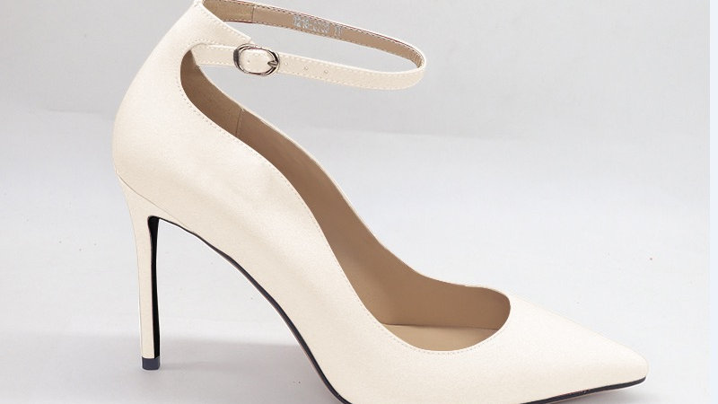 Cream Genuine Leather strap 4in heels