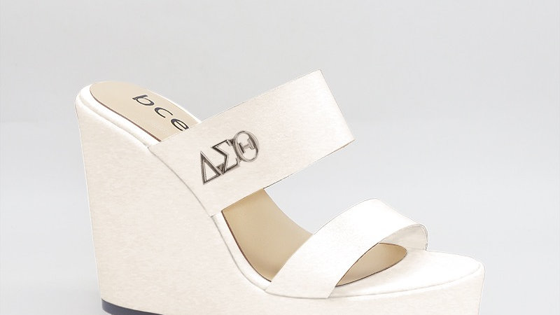 ΔΣΘ White Genuine Leather Wedges with gold buckle