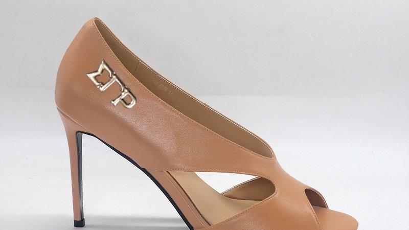 ΣΓΡ Cappuccino Genuine Leather 4in heels with gold  buckle