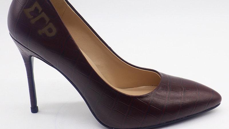 ΣΓΡ Mocha Crocodile Pattern Leather Debossed heels
