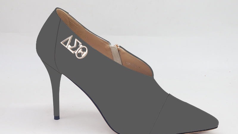 Dark Gray Genuine Leather and Faux Snake Skin Heels