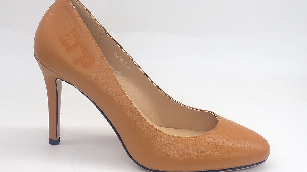 ΣΓΡ Cappuccino Genuine Leather Round Toe Debossed heels