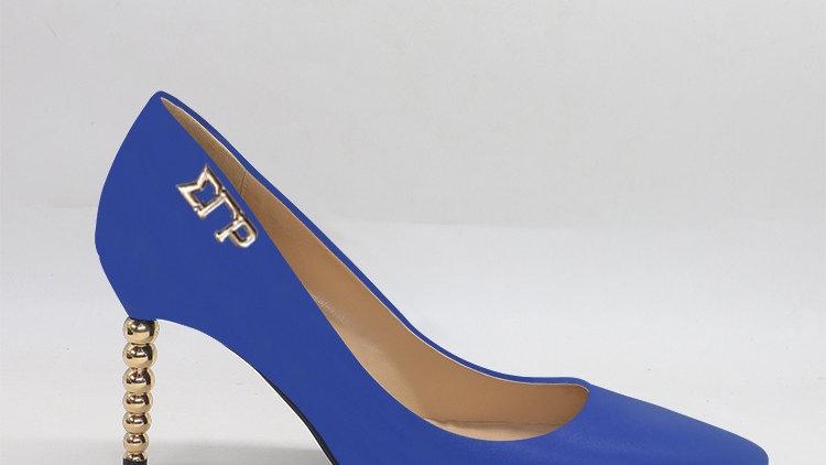 ΣΓΡ Blue Genuine leather heels with gold  buckle