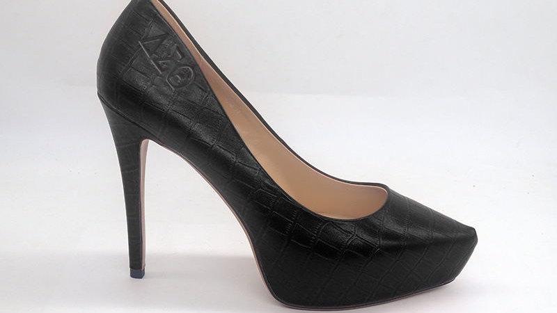 ΔΣΘ Black Croco Pattern Genuine Leather Debossed Heels