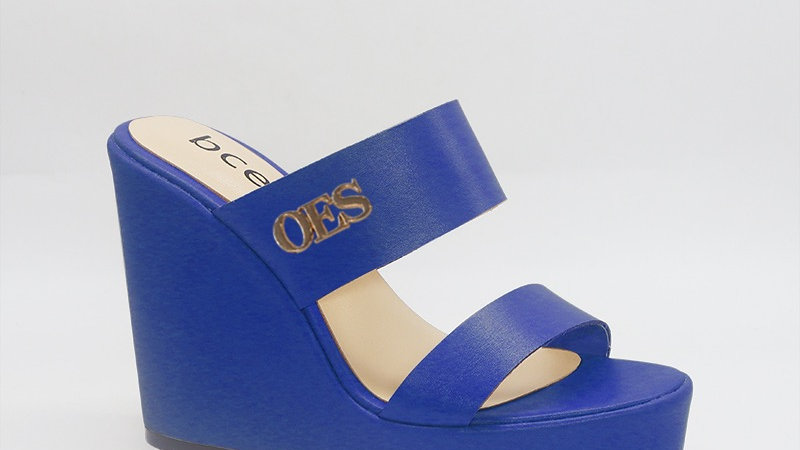 OES Blue Genuine Leather Wedges with gold embedded buckle