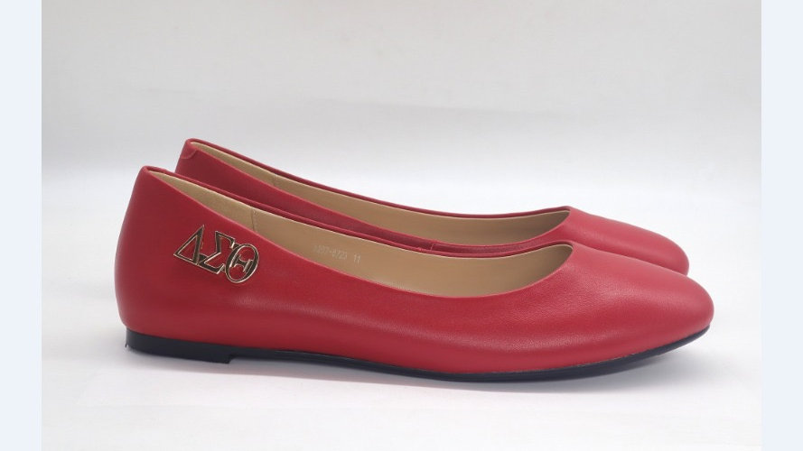 Red Genuine Leather Flats with Gold ΔΣΘ buckle