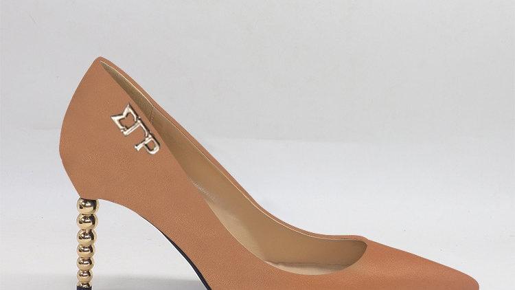 ΣΓΡ Cappuccino Genuine leather heels with gold  buckle