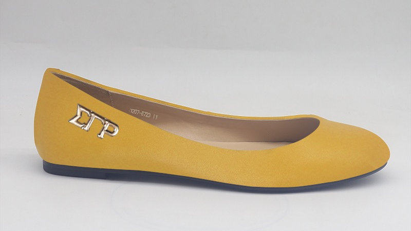 ΣΓΡ Yellow Genuine Leather Flats with gold buckle