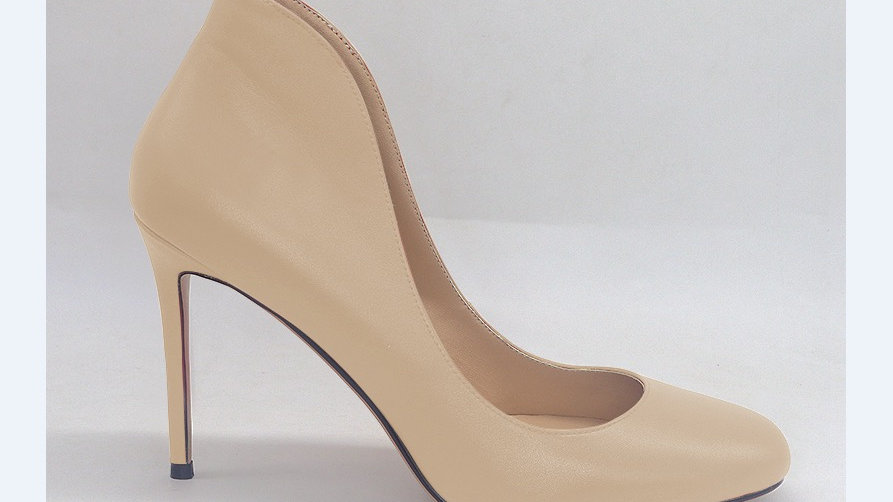 Beige Genuine Leather heels