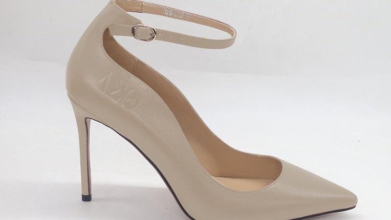 Light Gray ΔΣΘ Genuine Leather debossed strap heels