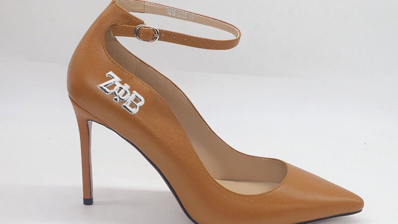 ΖΦΒ Cappuccino Genuine Leather strap heel with silver buckle