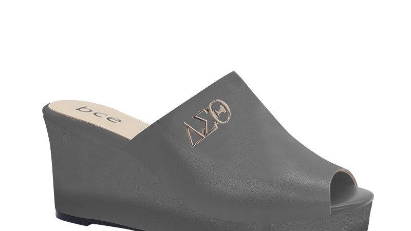 ΔΣΘ Gray Genuine Leather Wedges with silver embedde buckle