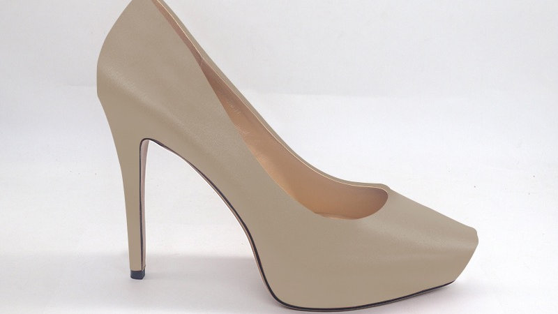 Light Gray Genuine Leather Platform 4in Heels