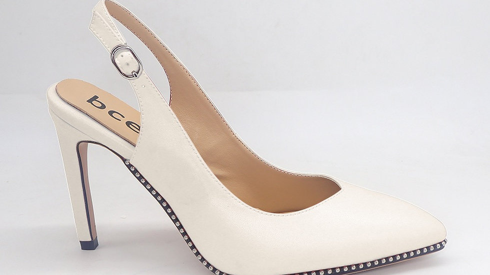 Cream Slingback Genuine Leather Heels with gold buckle