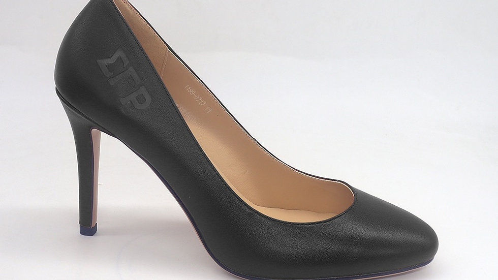 ΣΓΡ Black Genuine Leather Round Toe Debossed heels
