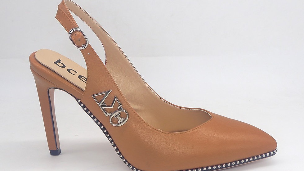 Cappuccino Slingback Heel with Silver ΔΣΘ buckle