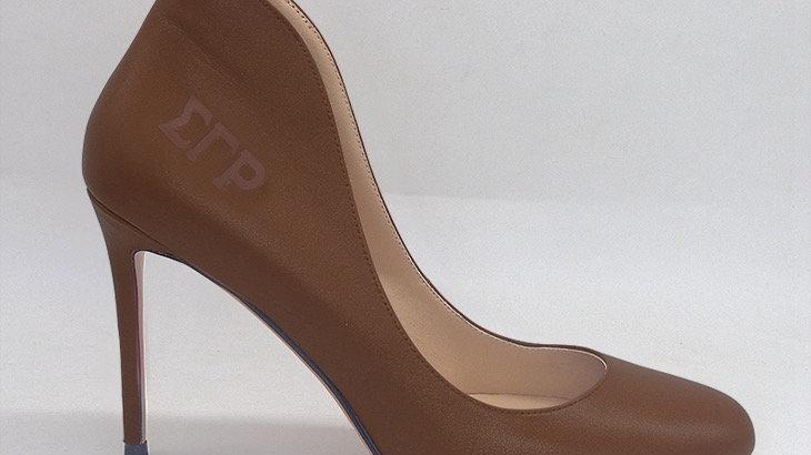 ΣΓΡ  Mocha Genuine Leather debossed heels