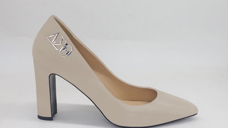 Light Gray ΔΣΘ Genuine Leather Block 4in heels with gold buckle