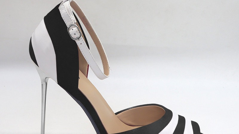 Black/White Genuine Leather 5in heels