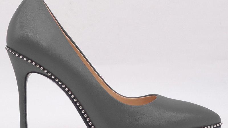 Dark Gray Genuine Leather Heels