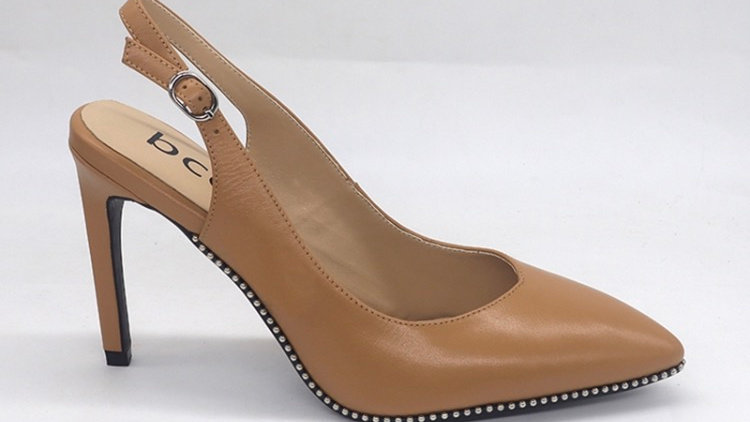 Cappuccino Slingback Genuine Leather Heels with gold buckle