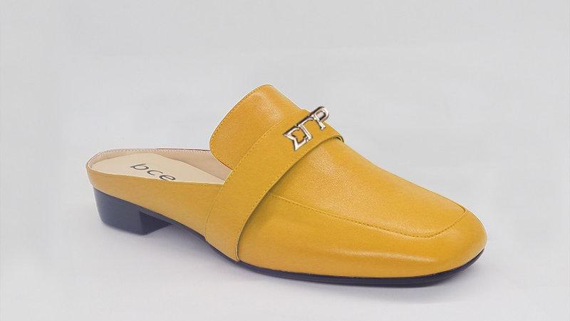 ΣΓΡ Yellow Genuine Leather Flats with gold embedde buckle