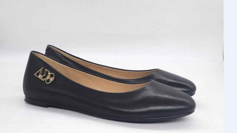 Black Genuine Leather Flats with Gold ΔΣΘ buckle