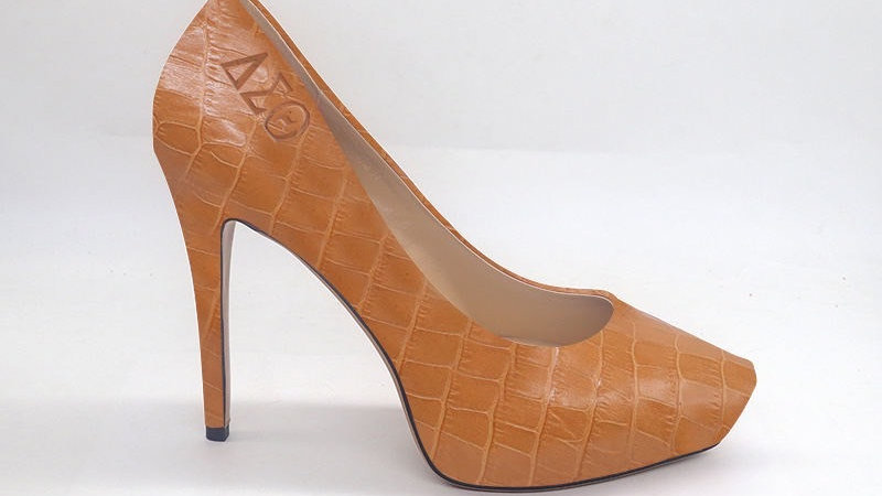 ΔΣΘ Cappuccino Croco Pattern Genuine Leather Platform Debossed Heels