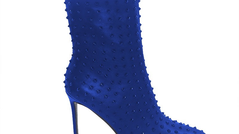Blue Genuine Leather Spiked 4in Boots