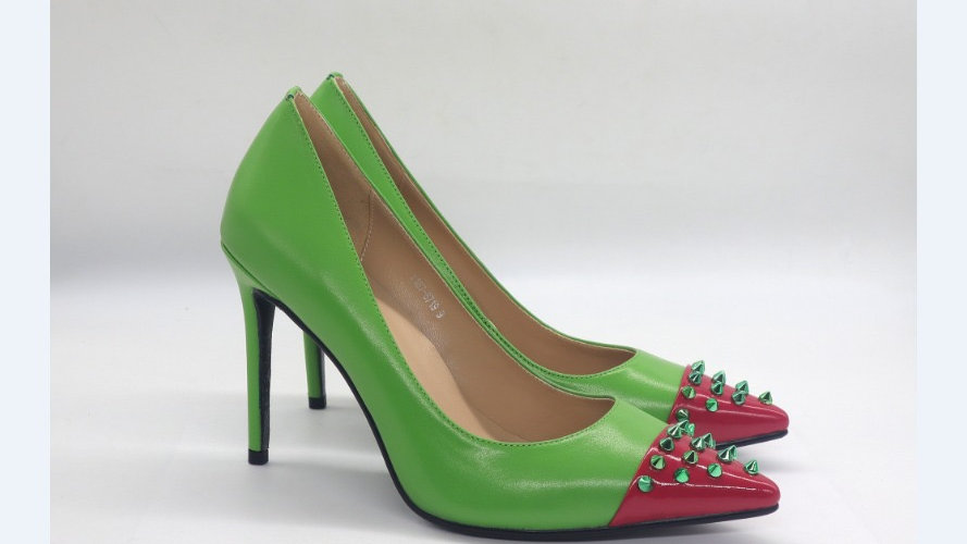 Green/Pink Genuine Leather Heels with Green Studs