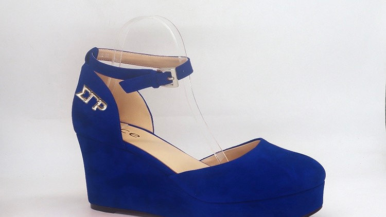 ΣΓΡ Blue Suede Wedges with gold buckle