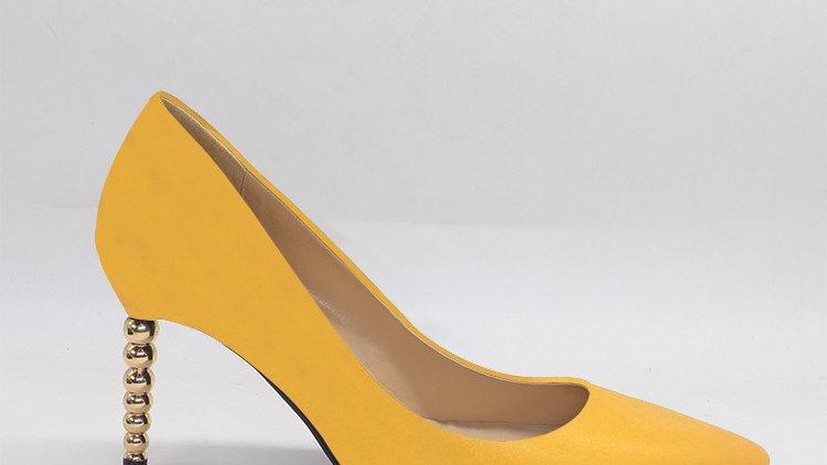 Yellow Genuine leather heels
