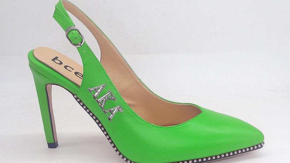 AKA Green Slingback Genuine Leather heels