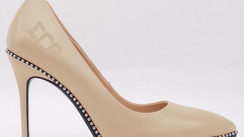 ΣΓΡ Light Beige Genuine Leather debossed heels
