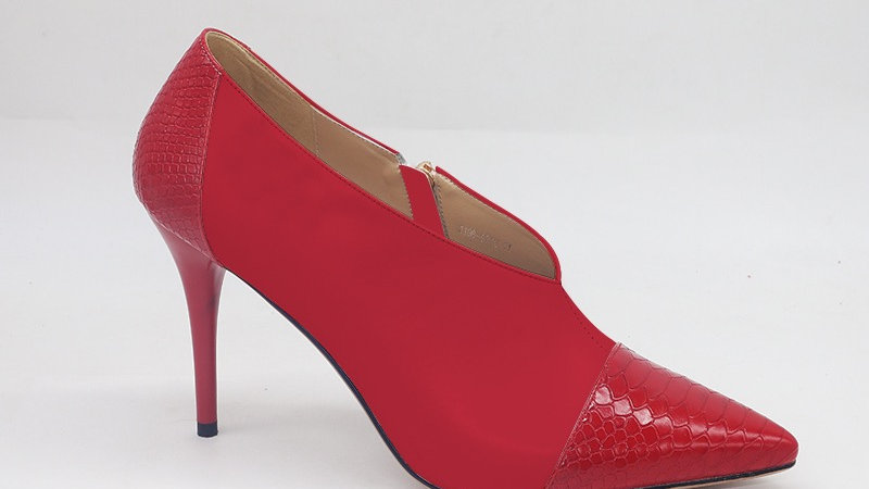 Red Genuine Leather and Faux Snake Skin Heels